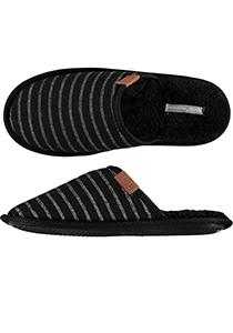 Pantoffels heren, zwarte slof streepje