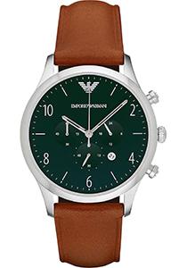 Armani heren horloge (43 mm), zilverkleurig met cognac bruine leren band