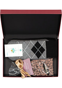 Hot Chocolade heren cadeauset Burlington Huissokken met warme chocolademelk, grijs geruit