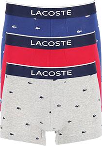 Lacoste Boxer Trunks (3-pack), heren boxers kort, grijs en blauw met logo en uni rood