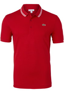 Lacoste Sport polo Slim Fit, super light knit, rood met wit