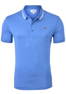 Lacoste Sport polo Slim Fit, super light knit, lichtblauw met wit