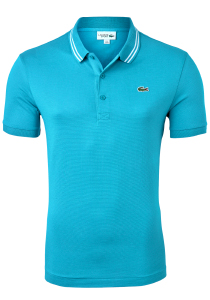Lacoste Sport polo Slim Fit, super light knit, turquoise met wit