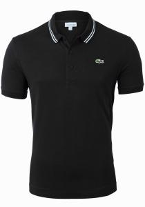 Lacoste Sport polo Slim Fit, super light knit, zwart met wit