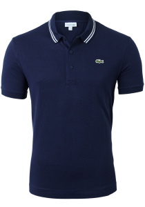 Lacoste Sport polo Slim Fit, super light knit, navy blauw met wit