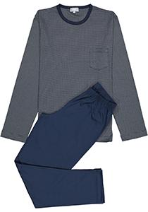 Mey heren pyjama Bennison, blauw heel fijn gestreept