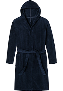 SCHIESSER dames badjas, dik badstof, capuchon, donkerblauw