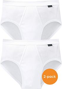 SCHIESSER Cotton Essentials sportslips (2-pack), Doppelripp met gulp, wit