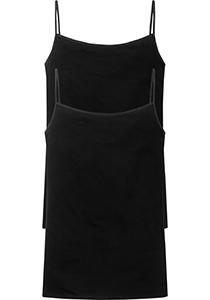 SCHIESSER Cotton Essentials dames singlet (2-pack), spaghetti bandjes, zwart