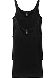 SCHIESSER Cotton Essentials dames singlet (2-pack), hemd model, zwart