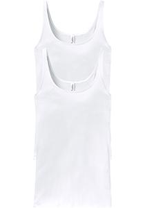 SCHIESSER Cotton Essentials dames singlet (2-pack), hemd model, wit