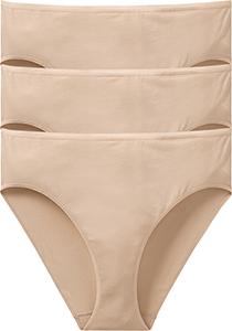 SCHIESSER Cotton Essentials dames slips (3-pack), huidskleur
