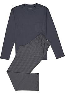 SCHIESSER heren pyjama, O-hals, grijs met dessin broek