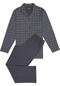 Schiesser heren pyjama, grijs geruit met knoopjes