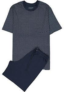 SCHIESSER heren shortama, O-hals, blauw met wit dessin