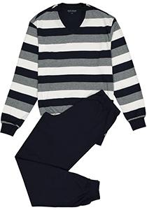 SCHIESSER heren pyjama, V-hals, blauw met wit en grijs gestreept