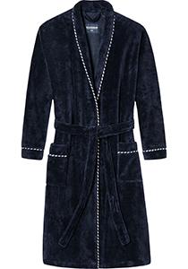 SCHIESSER dames badjas, dun bamboe badstof, donkerblauw met contrast bies