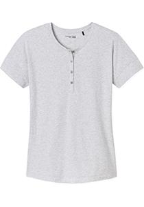 SCHIESSER dames Mix+Relax T-shirt, korte mouw, O-hals met knoopsluiting, grijs melange