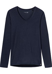 SCHIESSER dames Mix+Relax T-shirt, lange mouw, V-hals, donkerblauw