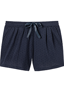 SCHIESSER dames Mix+Relax lounge broek, korte pijpen, dun, donkerblauw mini dessin