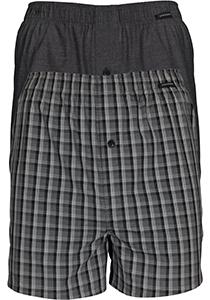 SCHIESSER Cotton Essentials boxershorts wijd (2-pack), klassiek katoen, zwart en geruit