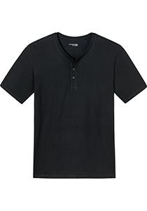 SCHIESSER Mix+Relax T-shirt, korte mouw O-hals met knoopjes, donkerblauw