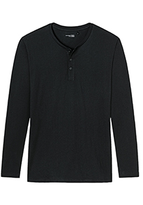 SCHIESSER Mix+Relax T-shirt, lange mouw O-hals met knoopjes, zwart