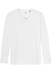 SCHIESSER Mix+Relax T-shirt, lange mouw O-hals met knoopjes, wit