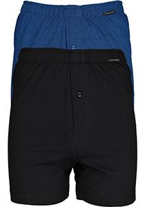 SCHIESSER Cotton Essentials boxershorts wijd (2-pack), tricot, zwart en blauw fijn gestreept