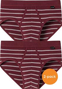 SCHIESSER Original Classics sportslips (2-pack), Feinripp met gulp, bordeaux rood gestreept