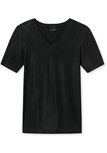 SCHIESSER Laser Cut T-shirt (1-pack), naadloos met diepe V-hals, zwart
