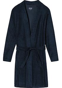 SCHIESSER dames badjas, kort model, dun badstof, donkerblauw