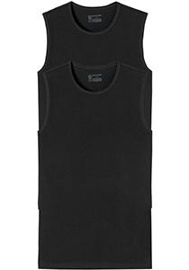 SCHIESSER 95/5 tanktops (2-pack), O-hals, zwart