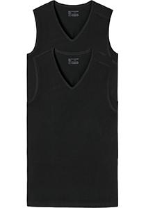 SCHIESSER 95/5 tanktops (2-pack), V-hals, zwart