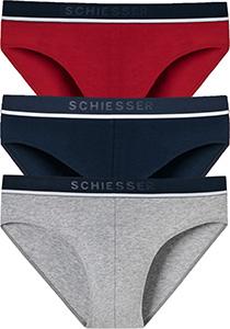 SCHIESSER 95/5 rioslips (3-pack), grijs, blauw en rood
