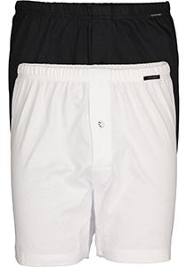 SCHIESSER Cotton Essentials boxershorts wijd (2-pack), tricot, zwart en wit