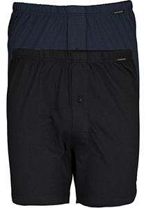 SCHIESSER Cotton Essentials boxershorts wijd (2-pack), tricot, zwart en donkerblauw