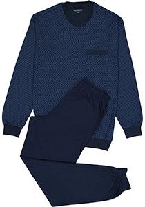 SCHIESSER heren pyjama, O-hals, donkerblauw dessin