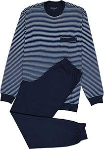 SCHIESSER heren pyjama, O-hals, licht-met donkerblauw gestreept