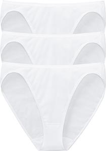 SCHIESSER Cotton Essentials dames rio slips (3-pack), wit