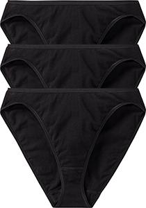 SCHIESSER Cotton Essentials dames rio slips (3-pack), zwart