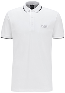Hugo Boss Regular Fit heren stretch polo, Paddy Pro, wit