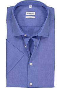 Seidensticker Regular Fit overhemd korte mouw, blauw (fil a fil)
