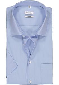 Seidensticker Regular Fit overhemd korte mouw, blauw (fil à fil)