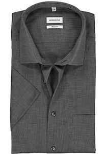 Seidensticker Regular Fit overhemd korte mouw, antraciet (fil à fil)