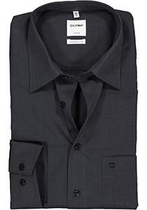 OLYMP Luxor Comfort Fit overhemd, antraciet grijs (Fil à Fil)