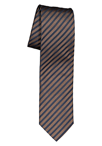 OLYMP stropdas, bruin met blauw gestreept