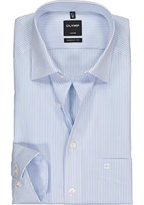 OLYMP Luxor modern fit overhemd, mouwlengte 7, lichtblauw met wit gestreept