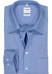 OLYMP Luxor Comfort Fit overhemd, blauw (Fil à Fil)