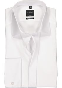 OLYMP Luxor modern fit overhemd, smoking overhemd, wit, gladde stof met Kent kraag